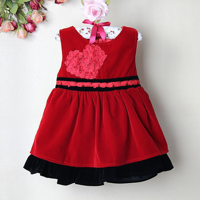 Online Cheap New Christmas Baby Girl Party Dress Red Corduroy ...
