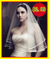Wholesale Hot Sale Only White Ivory Two Layers Bridal Accessories Veil for wedding dresses Satin Ribbon