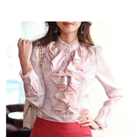 Ruffled white blouses - Ladies Blouses Fashion Ladies Blouses Blouse Flower Long sleeve Blouse Pink White Black Grey Blouse