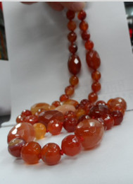 The new natural red agate beads long necklace 50CM