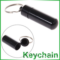 Wholesale Wonderful Middle Size Waterproof Metal Pill Drug Container Case Holder Air Tight with Key Chain