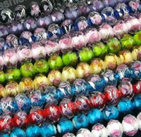 Wholesale MIC Flower Inside Faceted Rondelle Glass Beads MM1