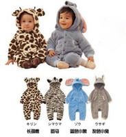 Wholesale Children add cotton animals romper Neonatal polar fleece cotton padded clothes sleepsuit jumpsuits