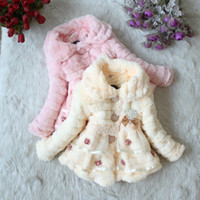 Wholesale Winter New Children s clothing baby girl s coats thick bowknot fur pearl jackets plush lace jacket