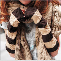 Wholesale New Fashion Female winter Korea long gloves knitting warm color stripe long gloves
