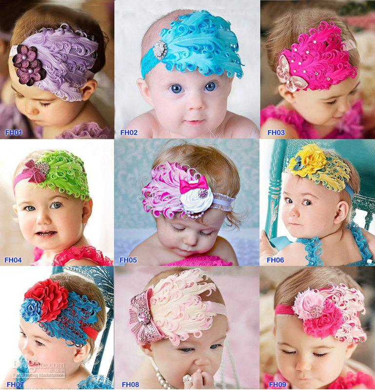 Retail Free sample+ 9 design Feather and rhinestone headband, Baby Headbands Photo Prop By CPAM