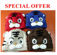Wool Baby China (Mainland) Baby Cartoon Tiger Hat Children's Knitted Warm Hat Girl Crochet Cap, 10pcs lot Free Shipping