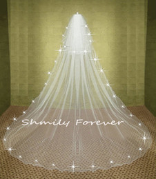 Wholesale only Stunning White Ivory wedding veil Tier Crystal Cathedral Bridal Veils