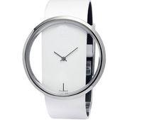 Wholesale Ladies Watch Simple Transparent Dial Quartz Wrist watch with PU Leather Strap