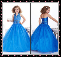 Wholesale Little Queen Halter Girl s Pageant Gowns Ball Gown Beads Organza Flower Girl Dresses