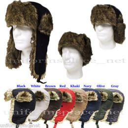 Descuento sombreros trampero Sombrero de invierno con orejeras de Rusia Trooper TRAPPER de piel sintética de esquí sombrero del casquillo del sombrero de la gorrita tejida de poliéster 100% del oído más cálido
