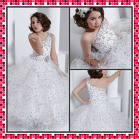 Wholesale 2013 Little Queen One Shoulder Girl s Princess Dresses Ball Gown Sequin Beads Flower Girl Dresses