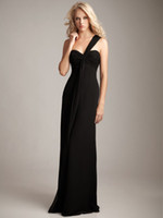Wholesale No Risk Shopping One Shoulder Pleat Chiffon Sheath Floor Length Party Bridesmadis Dresses Gowns b10