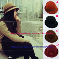 Wholesale Fedora hats women Dome cap ladies dress hats Womens caps felt hats wool felting Bowler hat MZ521