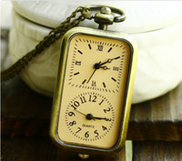 Cheap Korean style Retro pocket watch Rectangular Roman numerals dual movement dual clock necklace KT033