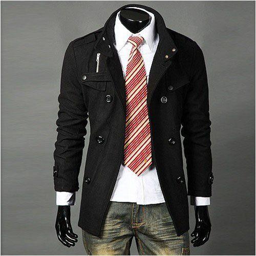 2017 Trench Coat Mens Long Winter Coats Mens Black Mens Fashion