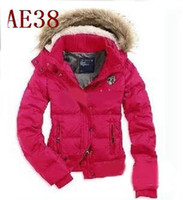 Wholesale New Women s AE Hot Pink Down Coat Jacket Winter parka Fur Hooded Down Coats Hoodies Outerwear