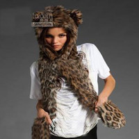 Wholesale 12Piece FAUX FUR ANIMAL HOOD WINTER HATS WITH LONG SCARF AND GLOVE NEW SPIRIT
