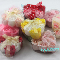 Paper Soap   (6pcs=1box) 120pcs soap flower heart shape handmade rose petals rose flower paper soap mix color