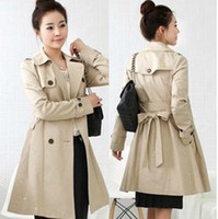 Wholesale HOT High Quality Women s Winter Slim double breasted Trench Trenches Coat Girl s Coats Outerwear Plus Size Colors Size M L XL XXL XXXL