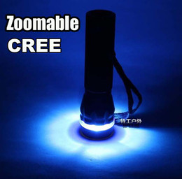 DHL Free,30pcs Blue Ring CREE Q3 WC LED 250 Lumens Torch Flash light Lamp Zoomable 3 Mode