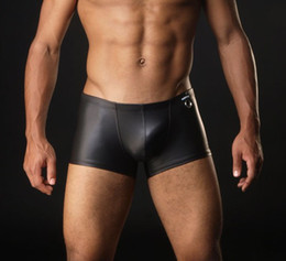 Amazing Faux artificial leather Underwear Briefs Pants Sheathy Cool underwear soft boxers