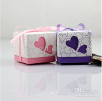 Wholesale Hot In stock promotion Cheap Pink Purple Piece Romantic Wedding Bridal Boxes Favors Favor