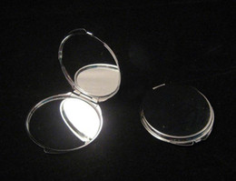 Wholesale Silver Blank Compact Mirror Round Metal Makeup Mirror Promotional Gift for XMAS FREE SHIP