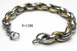 Heavy rope chain A macho man like jewelry stainless steel double tonal tough bracelet,nice men's gift DHL ship free