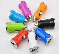 Wholesale colorful mini usb car charger for iPhone GS G S for iPod MP3 MP4 for HTC Samsung DHL
