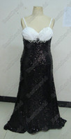 2011 prom - Strapless Fitted Gown Black White Sequin Formal Dress TBE11128 Flared Skirt Prom Dresses Floor