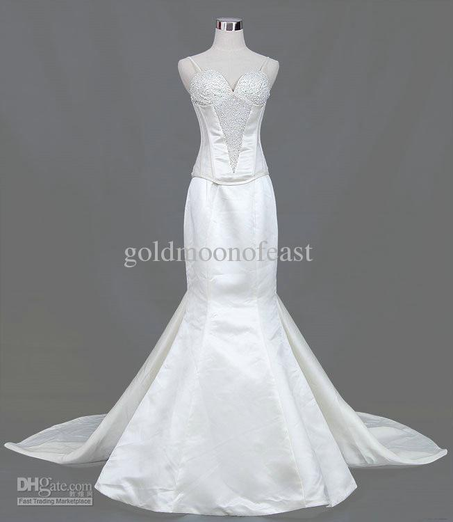 White satin mermaid wedding dresses with beadings details for Mermaid wedding dresses under 500