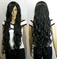 """straight African-American Wigs Christmas 33"""" Heat resistant Long Bang Black Spiral Wavy Cosplay Party Hair Wig"""