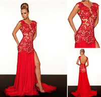 Wholesale 2012 Spring Summer Sexy Red Prom Dresses V Neck Lace Slit Chiffon Floor Length Evening Dresses