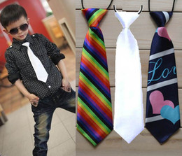 Wholesale Children Baby Boys Necktie Solid Color And Dye Printing Many Colors Imitation Silk Ties