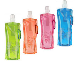 Wholesale 100 guaranteed Newest foldable water bottle ml blue green pink black purple orange