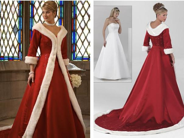 Hotnew long sleeves cloak winter ball gown wedding dresses 2015 red