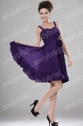 Wholesale Fresh Design Strappy Short Purple Prom Dresses Flowing Sexy Homecoming Party Dress Newest Style DH