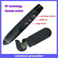 Wholesale PP MW RF Wireless USB PowerPoint Presenter Red Led Laser Pointer Flip Pen Black