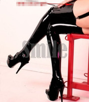 Wholesale Latex Thigh Faux Leather High Stockings Black sexy latex stockings sex product
