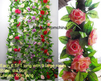 Wholesale 10 artificial silk rose flower garlands ivy leaves each FT long with large roses wedding home party decoration