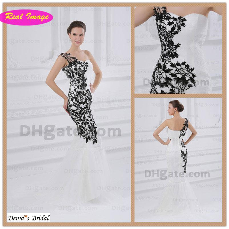Black And White Wedding Dresses One Shoulder Lace Flowers Fit N