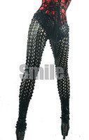 Skinny,Slim Other Long New Arrival Sequin Sexy Black Silver Gold leggings Lady Gaga tights pants Stretch Faux Leather Hole