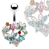 Wholesale Navel Ring Belly Button Body Piercing Jewelry Butterfly Style