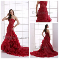 Wholesale Evening Dresses beaded strapless organza red pleats Floor Length Prom dress n324