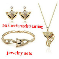 Wholesale Sweetheart Elegant Foxes Accessories Wedding Gold Jewelry Set Fashion Shinning Diamond Jewellery T