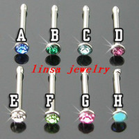 Wholesale free freight body piercing jewelry stainless steel nose stud nose pin mix colors
