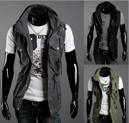 Wholesale 2311 Autumn Men s Leisure Sleeveless jacket Men s Double collar design Jackets Coat Outerwear