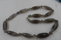 Wholesale Natural gray agate necklace cylindrical plus round beads