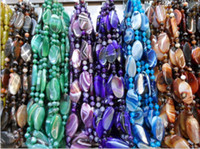 Wholesale Malay Jia Sijia striped blue agate slices plus bead necklace